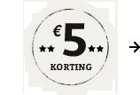 €5,- korting